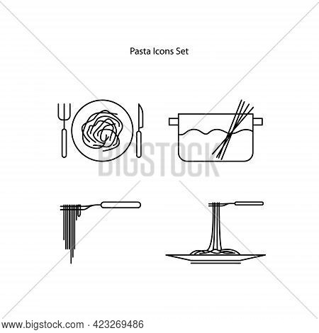 Pasta Icons Set Isolated On White Background. Pasta Icon Thin Line Outline Linear Pasta Symbol For L