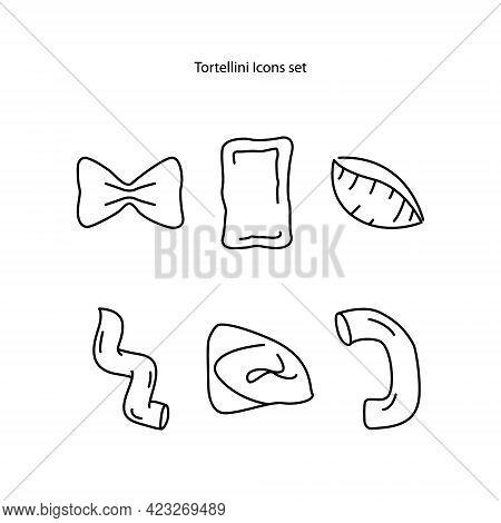 Vector Icons Set Of Different Types Of Traditional Italian Pasta Like Fusilli, Tortellini, Macaron O