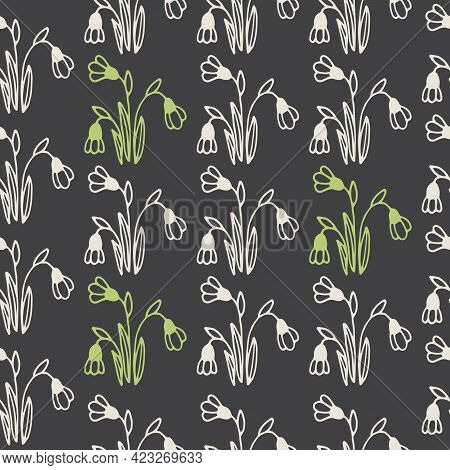 Seamless Pattern With Hand Drawn Flowers Of Snowdrops On A Dark Background. It Can Be Used For Decor