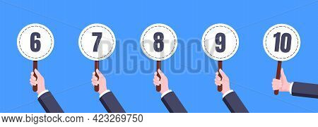 Hand Hold Round Score Card Banner Plate With Numbers 6, 7, 8, 9, 10 Business Concept Flat Style Desi