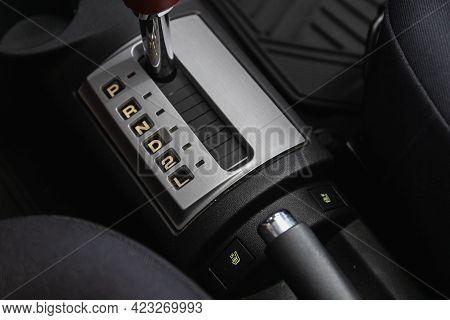 Novosibirsk, Russia - June 08, 2021: Hyundai Getz  , Automatic Transmission Lever Shift.