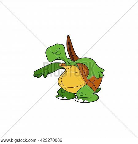 Cartoon Character. Turtle Got Scared And Closed His Eyes. Isolated On White Background. Animal Theme