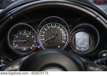 Novosibirsk, Russia - June 08, 2021:  Mazda Cx-5, Car Dashboard With White  Backlight: Odometer, Spe
