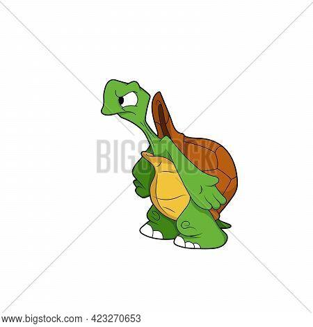 Cartoon Character. Turtle Shrugs. Isolated On White Background. Animal Theme.