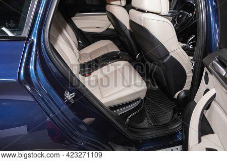 Novosibirsk, Russia - June 08, 2021: Bmw X6 , Comfort Car Inside. Clean Car Interior: White Leather