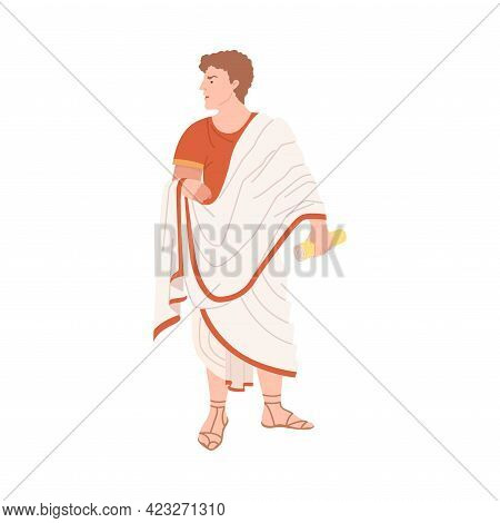 Young Male Roman Wearing Long Tunic And Sandals As Traditional Clothes Vector Illustration