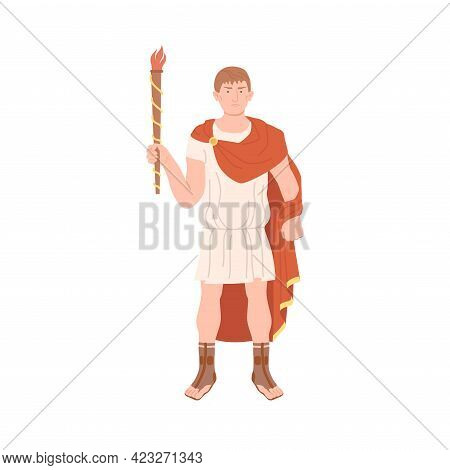 Young Male Roman Wearing Long Tunic And Sandals As Traditional Clothes Holding Torch Vector Illustra