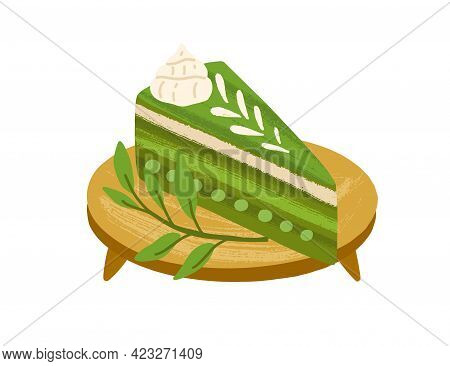 Piece Of Matcha Cake With Green Tea Flavor, Served On Wooden Board With Leaves. Japanese Vegan Desse