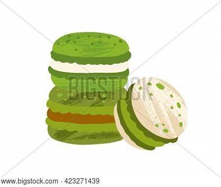 Green Tea Macaroons With Fillings. Japanese Macarons With Matcha Ganache, White Chocolate And Carame