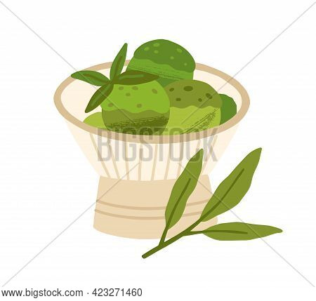 Japanese Matcha Green Tea Ice Cream Served In Bowl With Leaves. Organic Natural Asian Icecream Balls