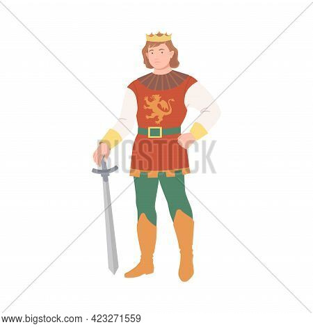 Young Prince With Golden Crown Holding Sword As Fabulous Medieval Character From Fairytale Vector Il