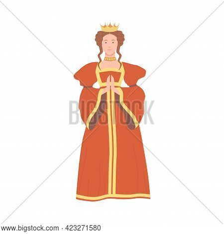 Queen In Red Dress With Golden Crown On Her Head As Fabulous Medieval Character From Fairytale Vecto