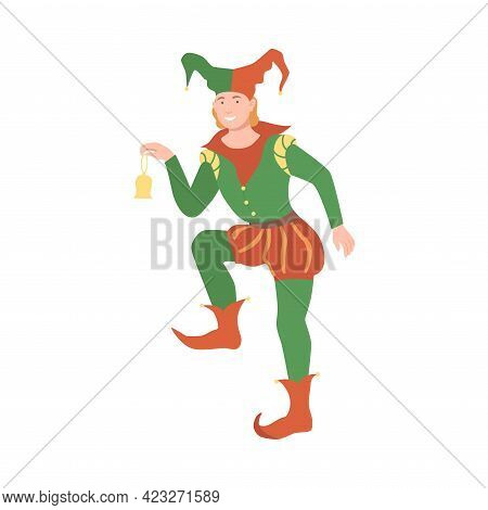 Jester Or Harlequin With Jingle Hat As Fabulous Medieval Character From Fairytale Vector Illustratio