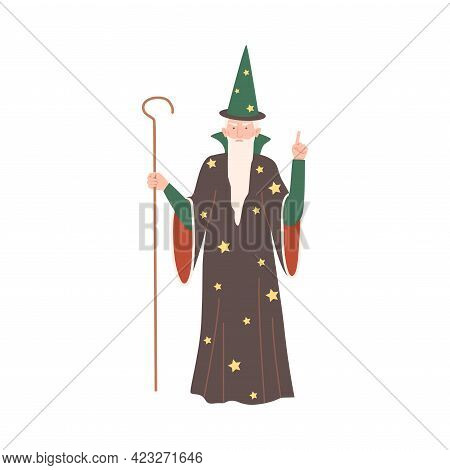 Wizard With Magic Stick And In Pointed Hat As Fabulous Medieval Character From Fairytale Vector Illu