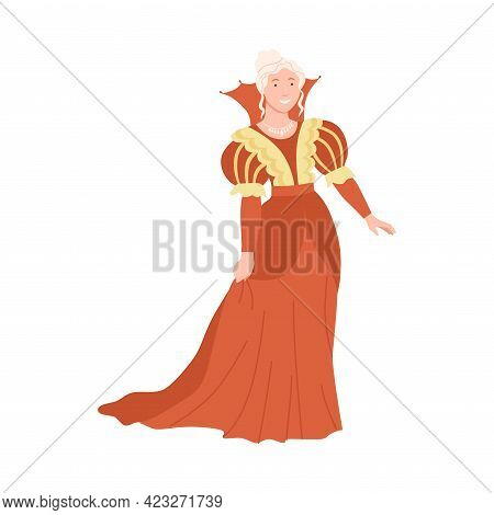 Young Princess As Fabulous Medieval Character From Fairytale Vector Illustration