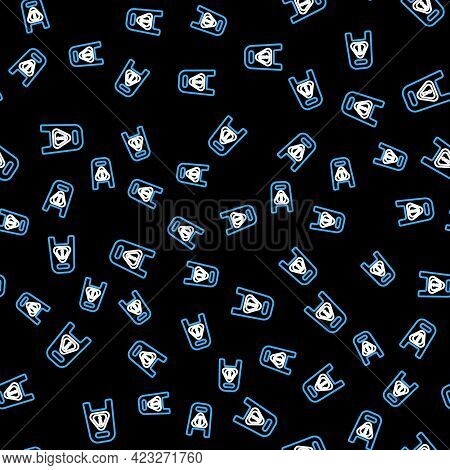 Line Wet Floor And Cleaning In Progress Icon Isolated Seamless Pattern On Black Background. Cleaning
