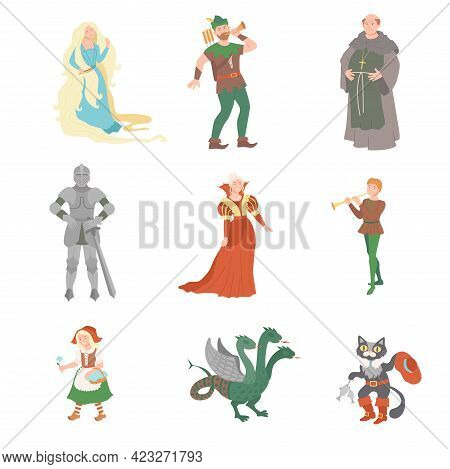 Fabulous Medieval Character From Fairytale With Rapunzel And Pussy In Boots Vector Set