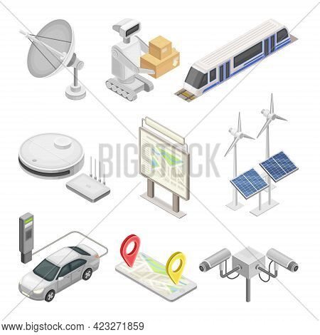 Smart City With Solar Panel, Robot, Electric Car And Satellite Dish Isometric Vector Set