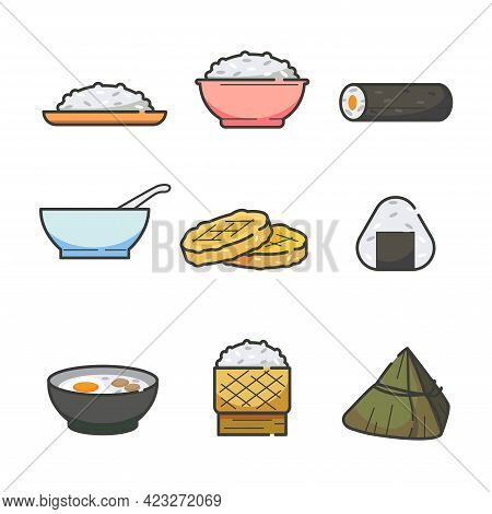 Set Of Cooking Rice And Glutinous Rice Food Staple Icon.