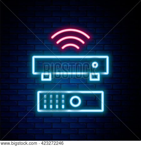 Glowing Neon Line Wireless Multimedia And Tv Box Receiver And Player With Remote Controller Icon Iso