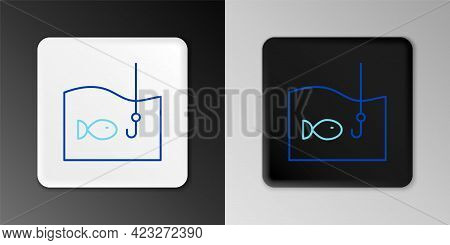 Line Fishing Hook Under Water With Fish Icon Isolated On Grey Background. Fishing Tackle. Colorful O