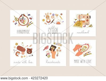 Cards Set With Sewing, Embroidery, Needlework, Crochet And Bead Craft Hobbies. Design Of Stickers Wi