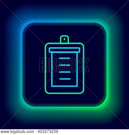 Glowing Neon Line Clipboard With Checklist Icon Isolated On Black Background. Control List Symbol. S