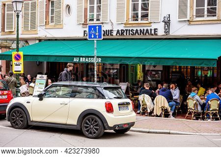 Strasbourg, France - May 19, 2021: People Eating Drinking At The Terrace Of Le Brasseur Pub On Pedes