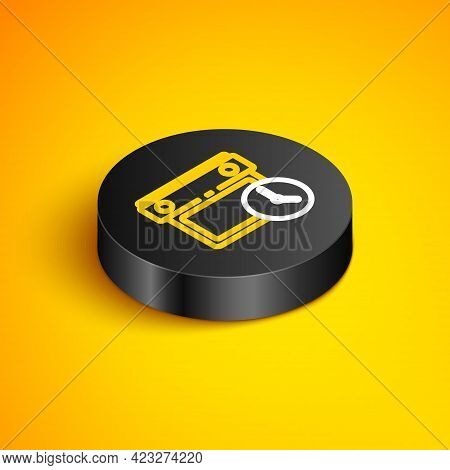 Isometric Line Calendar And Clock Icon Isolated On Yellow Background. Schedule, Appointment, Organiz