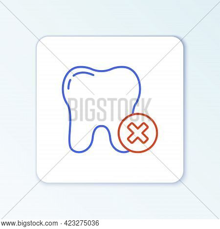 Line Tooth With Caries Icon Isolated On White Background. Tooth Decay. Colorful Outline Concept. Vec