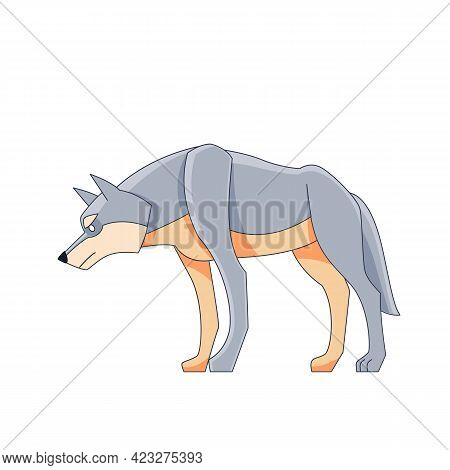 A Large Wolf Watches For Potential Prey. Cartoon Character Of A Dangerous Mammal Animal. A Wild Fore