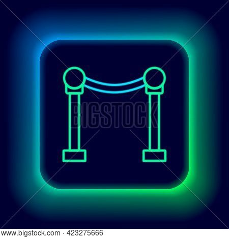 Glowing Neon Line Rope Barrier Icon Isolated On Black Background. Vip Event, Luxury Celebration. Cel