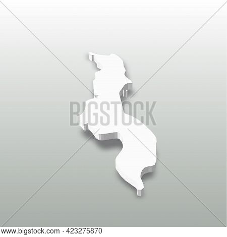 Malawi - White 3d Silhouette Map Of Country Area With Dropped Shadow On Grey Background. Simple Flat