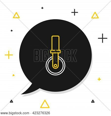 Line Pizza Knife Icon Isolated On White Background. Pizza Cutter Sign. Steel Kitchenware Equipment.