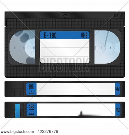 Vhs Video Cassettes With The Upper And Side Sides. Realistic Vector Design. A Torn Sticker On One Of