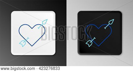 Line Amour Symbol With Heart And Arrow Icon Isolated On Grey Background. Love Sign. Valentines Symbo