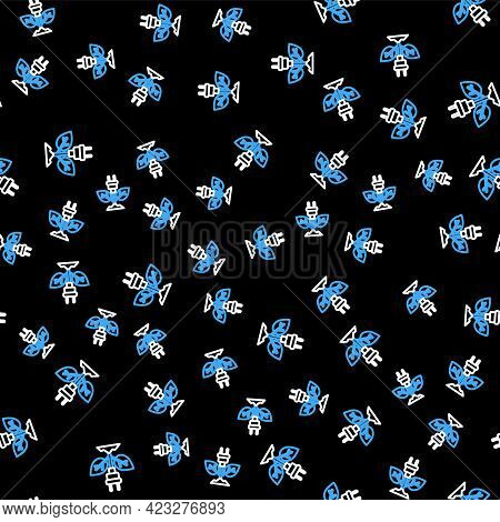 Line Electric Saving Plug In Leaf Icon Isolated Seamless Pattern On Black Background. Save Energy El