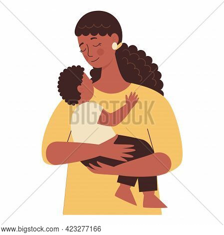 Beautiful African Black Woman Holds A Baby In Her Arms, Mom Hugs Her Children. Mothers Day, Womens D