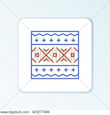 Line Ukrainian Ethnic Pattern For Embroidery Icon Isolated On White Background. Traditional Folk Art