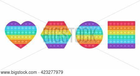 A Set Of Bright Fashion Pop It Fidget. Anti-stress Toys Of Different Shapes For Children. Convex Iri