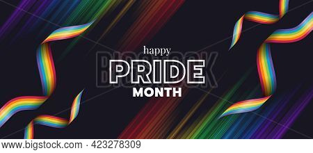 Happy Pride Month Text And Rainbow Pride Ribbons Stripe Wave On Light Stripe Rainbow Texture And Dar