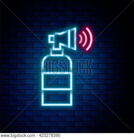 Glowing Neon Line Air Horn Icon Isolated On Brick Wall Background. Sport Fans Or Citizens Against Go
