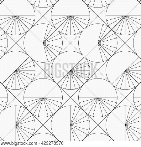 Geometric Vector Pattern, Repeating Diamond Shape And Circle With Stripe Linear On Half Circles. Pat