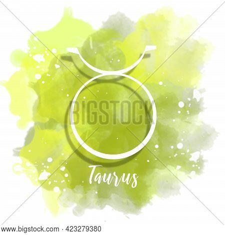 Illustration Of Zodiac Sign Taurus With Watercolor Background