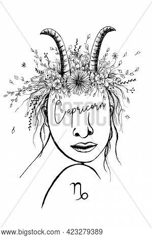 Zodiac Sign Capricorn Woman Black Outline With White Background