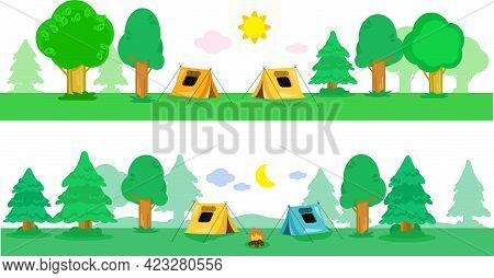 Two Tents In The Campsite By Night And By Day, Seamless Banner Vector Illustration