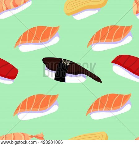 Colorful Vector Seeamless Pattern With Japanese Sushi With Salmon, Tuna, Egg, Shrimp And Eel