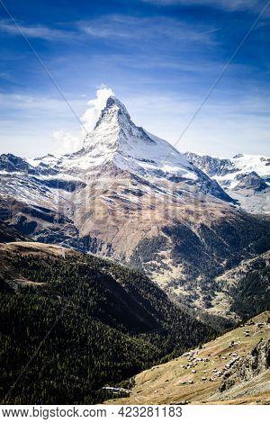 Scenic view of famous alpine peak Matterhorn near Swiss resort town of Zermatt