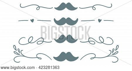 Fathers Day Dividers With Mustache. Hand Drawn Dividers With Mustache. Fathers Day Greeting Illustra