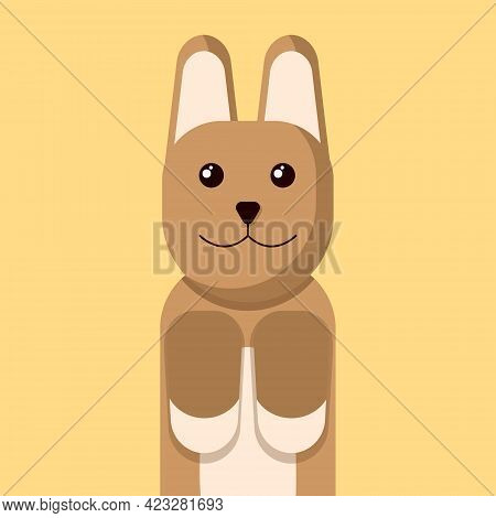 Corgi Dog Cartoon Icon Illustration. Adorable Breed Corgi Character Isolated On Yellow Background.